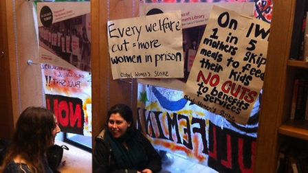 Protestors at the Women's Library