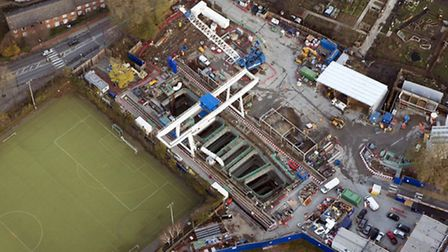 From the sky... Crossrail's excavation shaft at Stepney Green