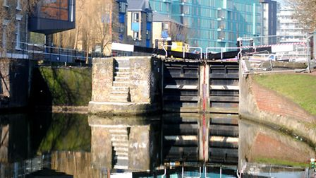 Mile End Lock being drained for repairs