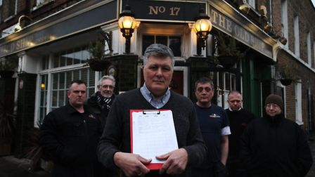 Landlord John Fell with some of his regular customers launch a campaign to save The Old Ship pub, Ba