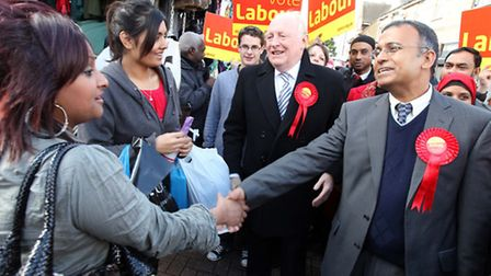 Cllr Abbas meeting voters in Roman Road with Lord Kinnock in 2010... not enough to stop Lutfur Rahma