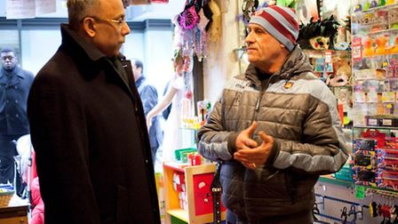 Mayor Rahman meets Spitalfields market trader Les Bobroe who faces rocketting rents and now eviction