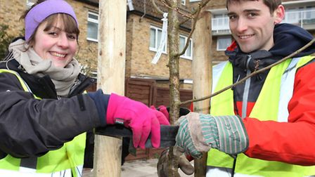 Charity workers Polly Jarman (left) and David Campell
