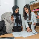 Work experience students Shabnam Akhter (left) and Nusrat Chowdhury (centre) of Central Foundation G