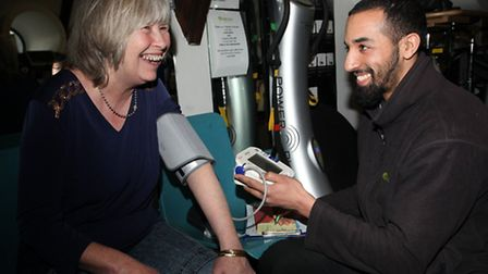 Margaret White gets health check from gym trainer Mohammed Dahiri