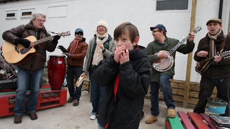 A music band amuse the public during the Easter activities at Stepney City Farm