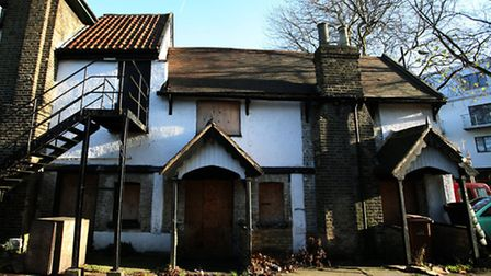 Exterior of the Old Spotted Dog, a Grade II listed 15th century pub that has fallen into disrepair.