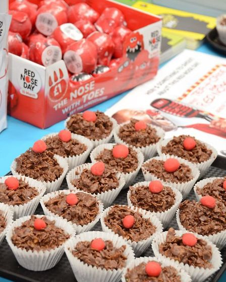 Even the chocolate cornflake cakes are wearing red noses.