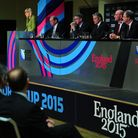 Chief Executive of England 2015 Debbie Jevans (left) during the Rugby World Cup 2015 venue announcem