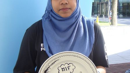Aishah Begum at Oxfam's 'dinner plate' demo in Spitalfields