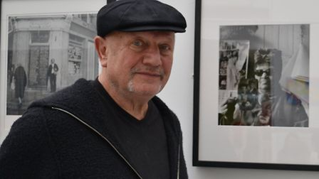 Berkoff at the exhibition at Middlesex University's Hendon campus