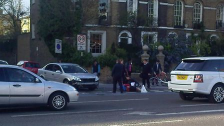 The scene of the collision in Bow Road