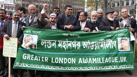 Bengali politicians and community demonstrate in solidarity to the Bangladesh War Crimes' victims at