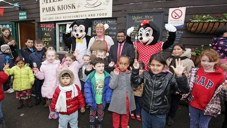 Kids mix with Mickey and Minnie Mouse at Mile End Park