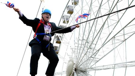 This pic of London mayor Boris Johnson stuck as he dangles from a zipwire was one of Isabel's entrie
