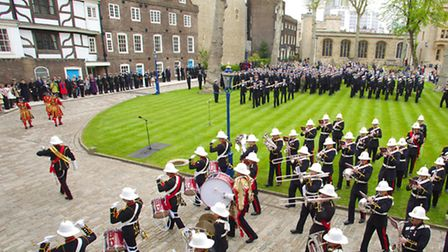 HMS Illustrious, HMS Edinburgh and HMS Blyth participate in Constable's Dues at the Tower of London