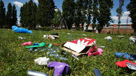 Canisters from legal highs in Allen Gardens after crowds took the park
