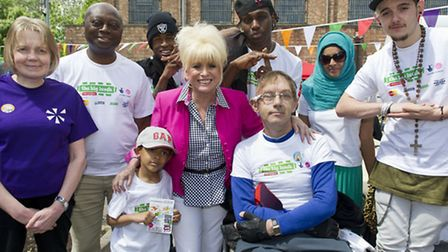 Babs Windsor with yougsters at Hackney Wick's Cre8 Centre
