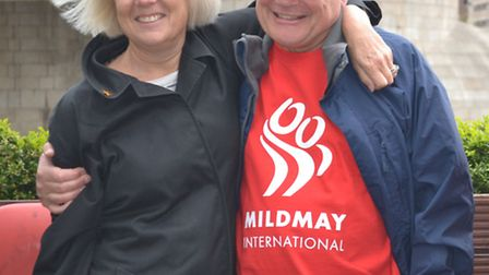 David Race with his wife Alison at Tower Bridge before starting the walk