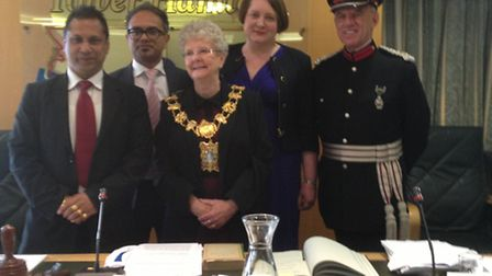 Councillor Lesley Pavitt (centre) after being elected as the new speaker of Tower Hamlets Council