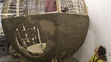 Sculpture Frank Harris and his 'Bird Nest' from recycled ancient clay
