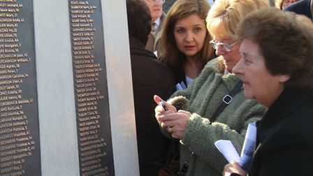 Relatives at Bethnal Green's unfinished memorial