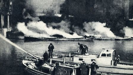 Fire crews battle to save St Katharine's at height of London Blitz, 1940
