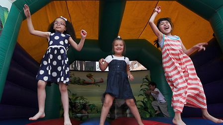 Layla, Angelica and Aska bounce high at Chisenhale's summer fete
