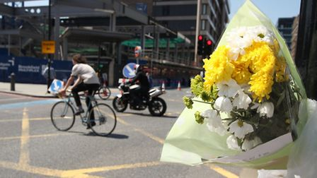 Floral tribute in Whitechapel to Philippine Degerin-Ricard