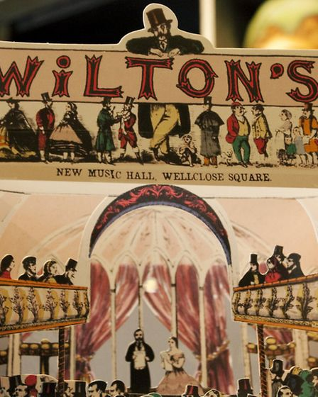 A paper reproduction of the old Victorian theatre at the Wilton's Music Hall shop.