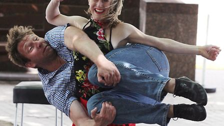 """Joli Vyann and Wren Landing perform """"Don't drink and dance"""" during Dancing City, the annual Greenwic"""