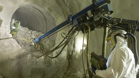 Tunnel lining concrete spraying at Crossrail's Liverpool Street site