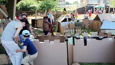The thriving city of cardboard at Mile End Park created by children with help from parents
