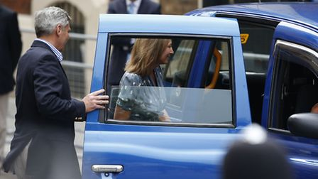 The Duchess of Cambridge's parents Carole and Michael Middleton leave the Lindo Wing of St Mary's Ho