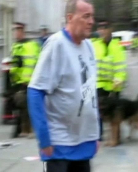 A CCTV still showing Ian Tomlinson before he was pushed by a police officer at the G20 protests in 2