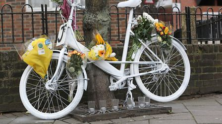 A ghost bike which was left as a tribute to Sumbal Javed, who was crushed under a lorry in December