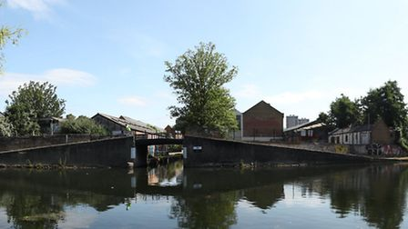 A view of the site at Bow Wharf along Regents Canal
