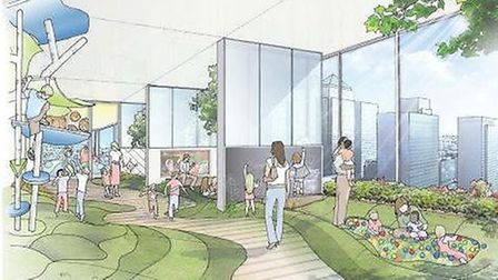 An artist's impression of the inside of the City Pride skyscraper