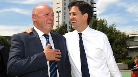 Ed Miliband with his old teacher, Chris Dunne- who is now head teacher of Langdon Park School