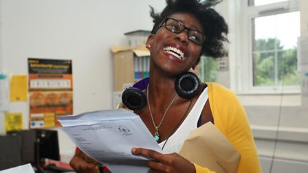 Student Erdoo Yonga gets emotional as she opens her A-Level results at Cambridge Heath Sixth Form, B