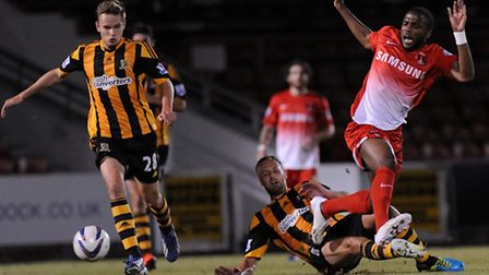 Orient substitute Yohann Lasimant is tackled (Simon O'Connor)