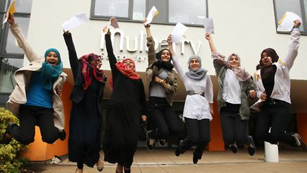 Mulberry School for Girls students celebrate their GCSE results.