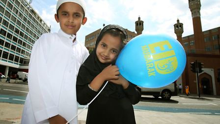 Siblings Ahsan, left, and Arwa Iftikhar, of Forest Gate, celebrate the end of Ramadan, also known as