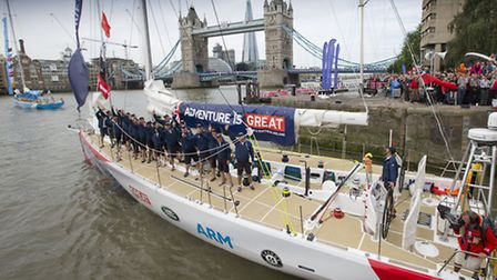 Great Britain yacht leaves St Katrine's Dock for Clipper round the World Race. Image by onEdition