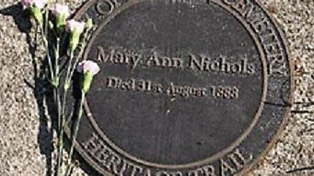 Plaque marking Polly Nichols' grave at City of London Cemetery, Manor Park