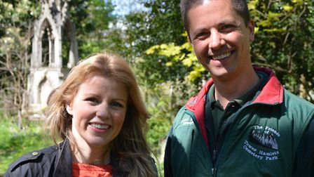Countryfile's Ellie Harrison with Ken Greenway at the cemetery
