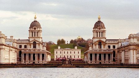 Old Royal Naval College as seen from Island Gardens on the opposite side of the Thames.