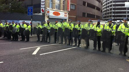 A massive police presence kept anti-fascist demonstrators separate from the EDL