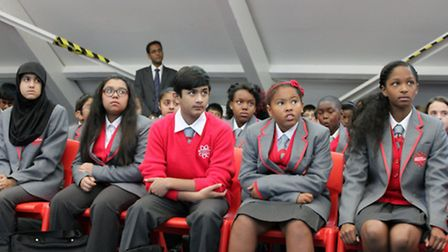 No playground... first pupils at East London Science School in the hall