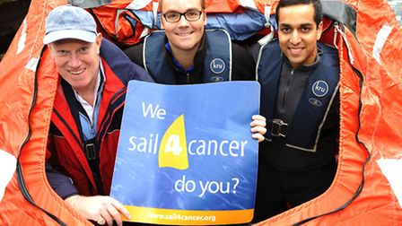 Left to right: Vincent Neate, James Holley and Priyan Patel in the lifeboat where they will spend tw